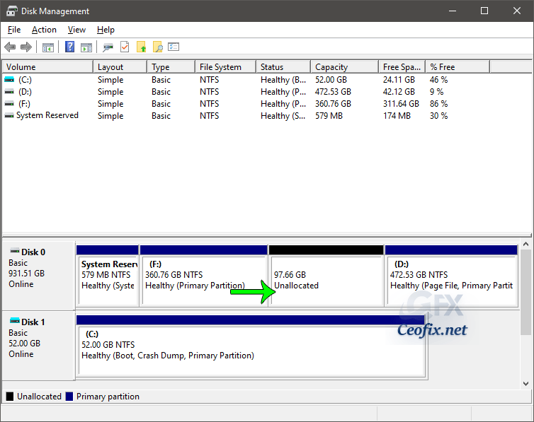new unallocated partition
