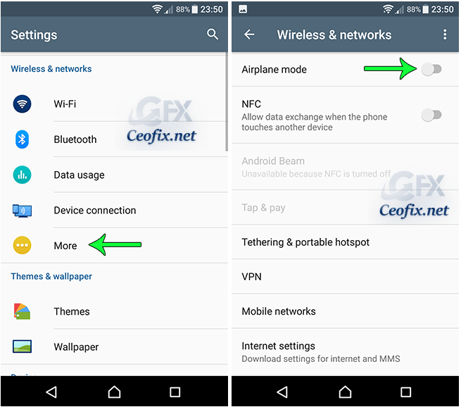 permanently disable airplane mode, follow the steps below