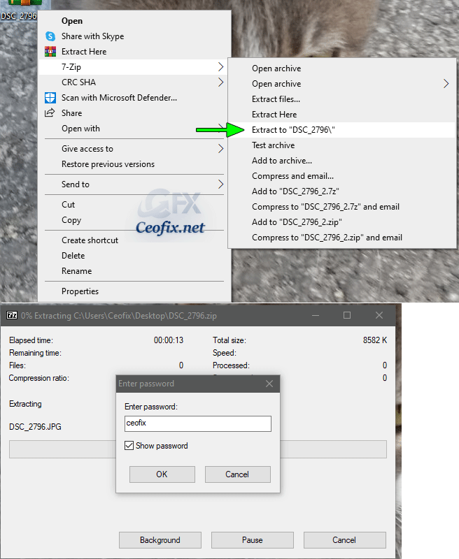 to unzip an encrypted folder or file