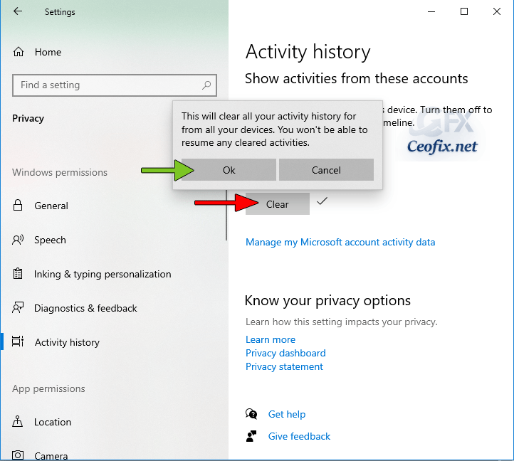 How to clear your activity history on Windows?