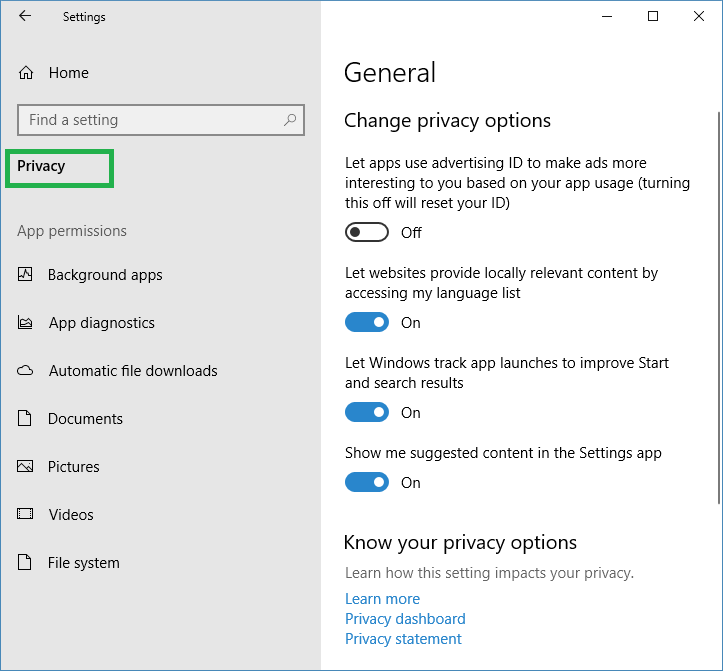 How to stop windows apps accessing to Documents-Pictures-Videos