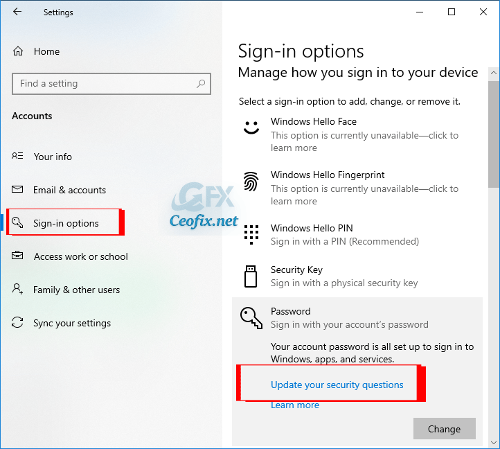 Add Security Questions for Windows 10 Local Account