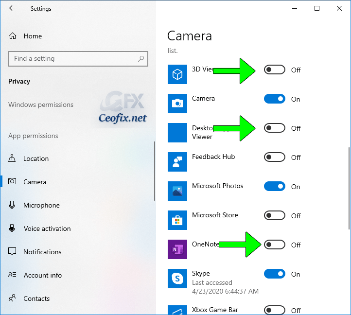 How to change Apps Camera-Microphone permission On Windows
