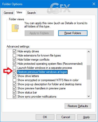 Restore Previous Folder Windows at Logon in Windows