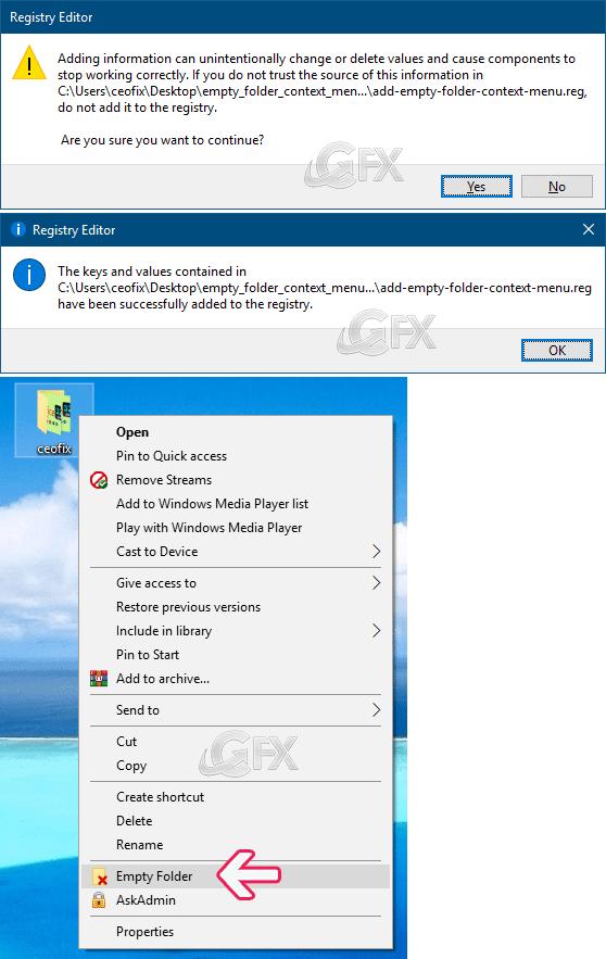 Add Empty Folder Context Menu in Windows 10
