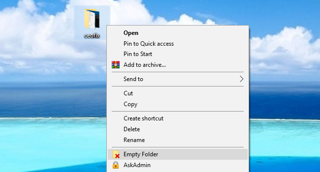 Add Empty Folder Context Menu in Windows 10