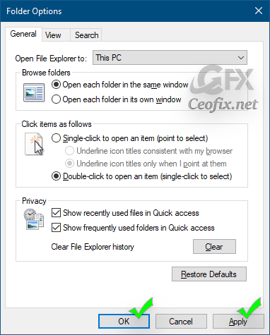 This PC in the Open File Explorer
