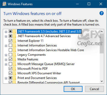 How to install or enable Microsoft .NET Framework 2.0 and 3.5 in Windows 10 and Windows 8.1