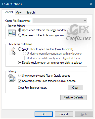 Set Default Folder When Opening Explorer in Windows 10
