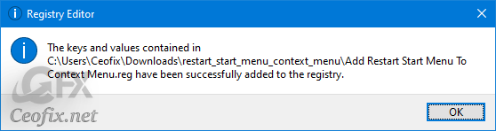 How to add Restart Start Menu Context Menu in Windows 10