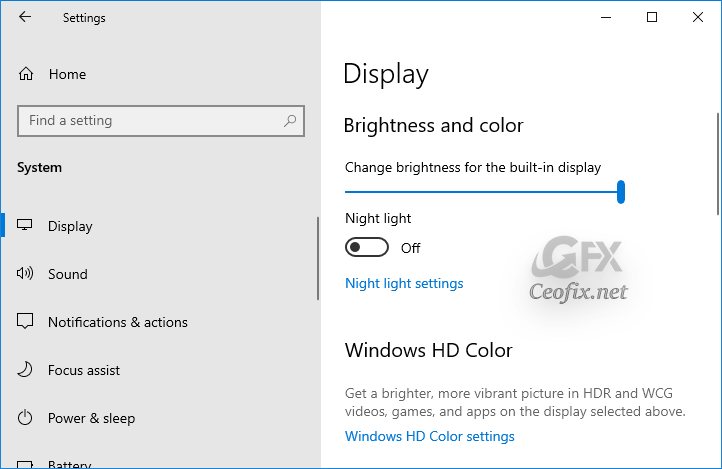 Change the brightness of the display using the Settings app