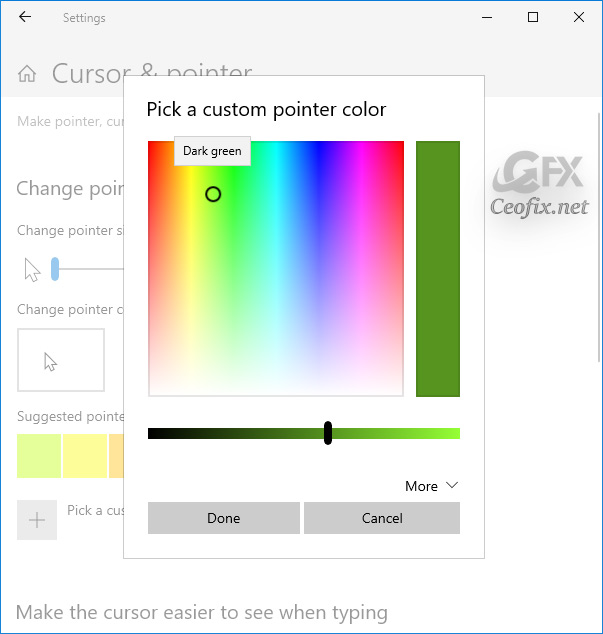 custom pointer color button