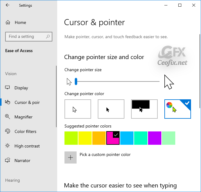 Change Mouse Pointer Color in Windows 10
