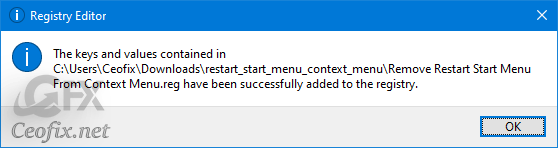Remove Restart Start Menu From Context Menu