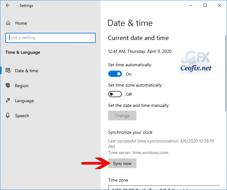 Manual Date And Time Sync in Windows 10 19H1