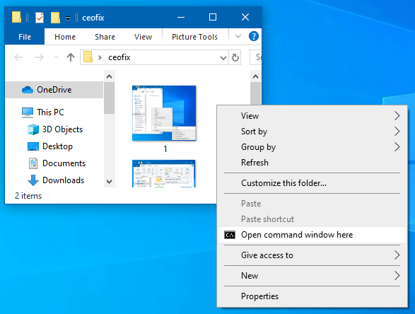Add Open Command Window Here to Windows 10 Context Menu