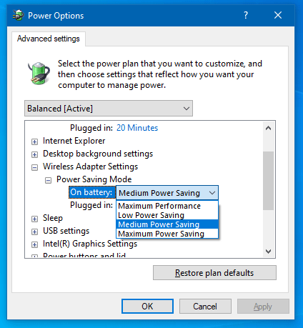 wireless adapter settings