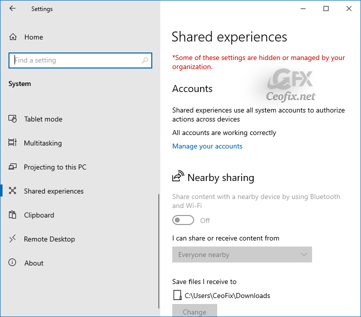 Turn On Or Off Shared Experiences Feature in Windows 10