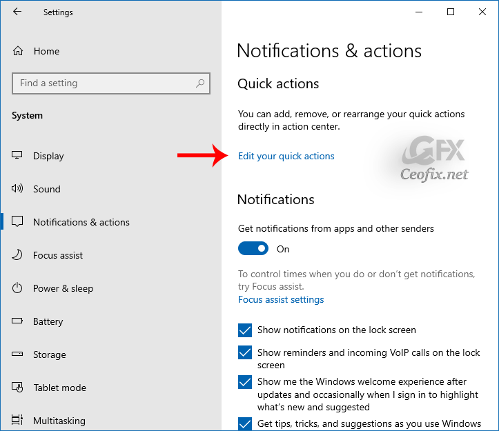 Rearrange Quick Actions in Action Center Directly