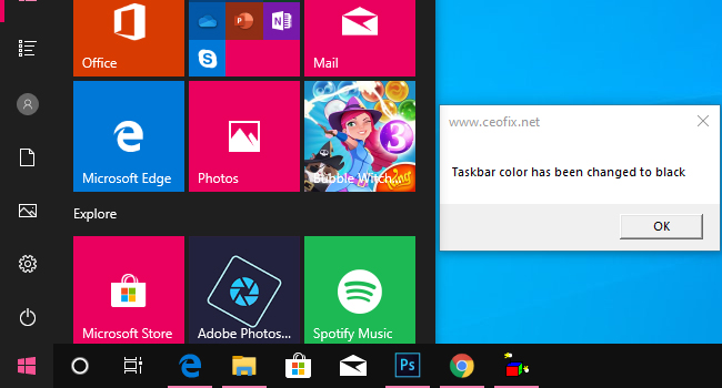 Change Taskbar Color To Black With One Click in Windows 10