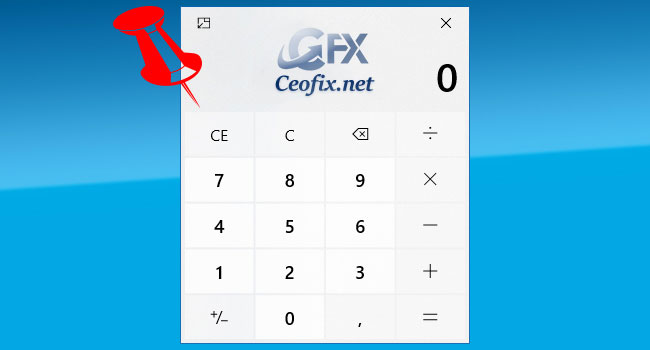 Enable Always on Top  Mode for Calculator in Windows 10