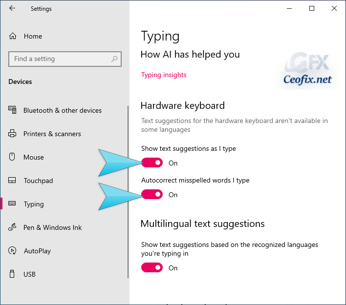 Enable Text Suggestions For Hardware Keyboard in Windows 10