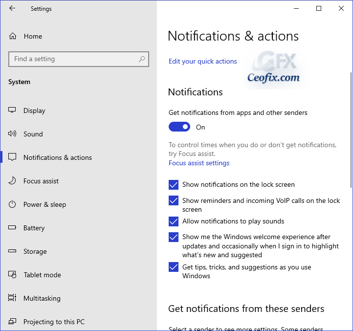 Change Notifications From Specific Senders On Windows 10