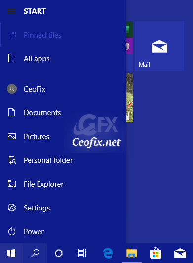 Add or Remove Folder Shortcuts in Start Menu of Windows 10
