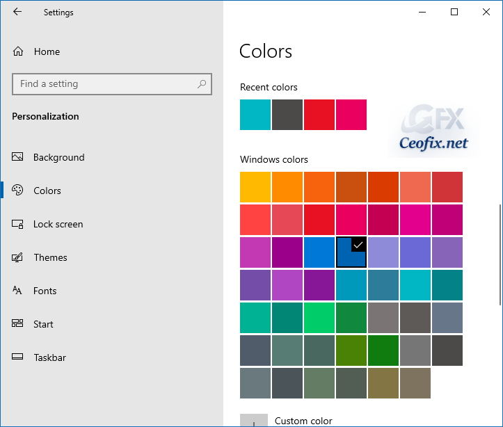 How to Clear Recent Colors History in Windows 10