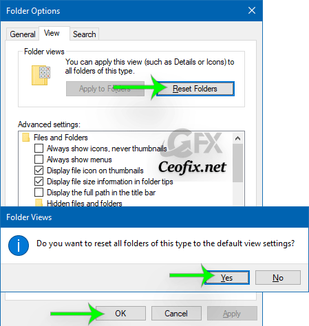 How to Reset Folder View Settings to Default in Windows 10