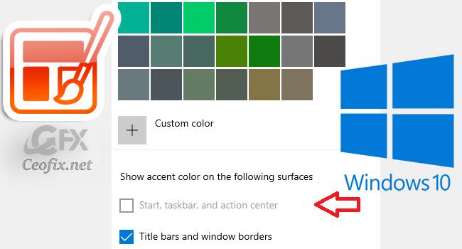 Custom Theme: Start, taskbar and action center greyed out