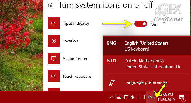 Turn Off Language Bar or Input Indicator in Windows 10