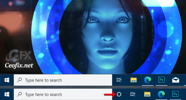 How to Hide Cortana button from the Windows 10 Taskbar