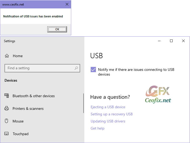 Turn On or Off Notification of USB Issues in Windows 10