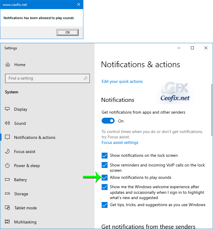 Enable All Notifications to Play Sound in Windows 10