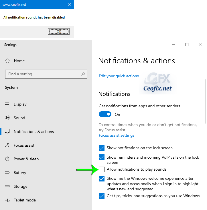 Disable All Notifications to Play Sound in Windows 10