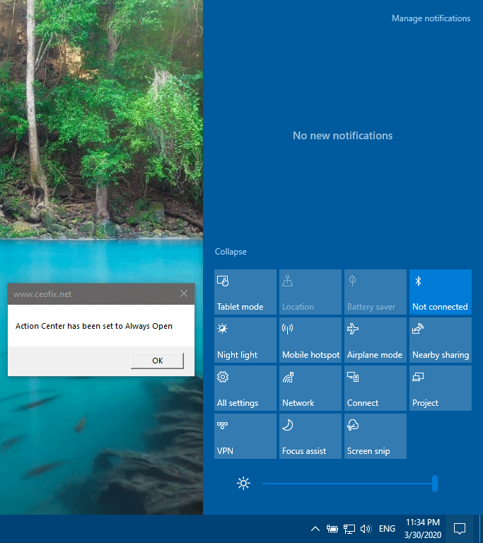 Keep action center always open in windows 10