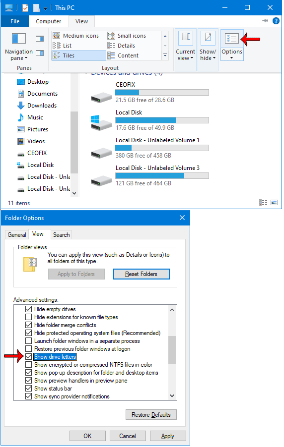 Show or hide Drive Letters Back in Windows