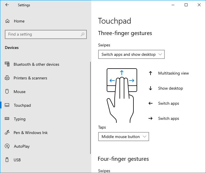 Simulating the middle button on the laptop touch pad