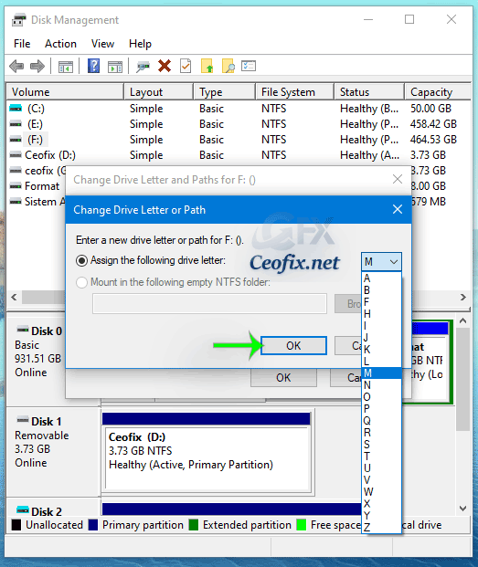 Change Drive Letter via Disk Management