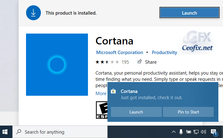 Remove and Restore Cortana Whenever You Want in Windows 10