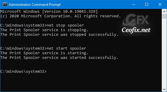 net start spooler