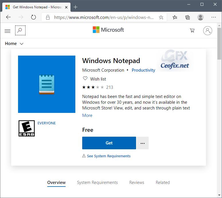 windows notepad install