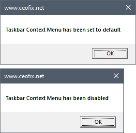disable Taskbar Customization options and right click