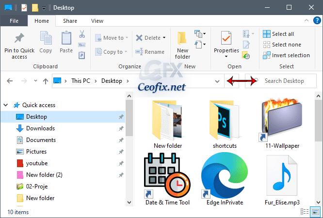 Change File Explorer Address Line and Search Box Width