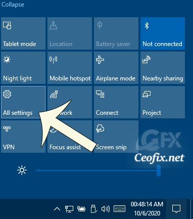 Open Settings app from the Action Center