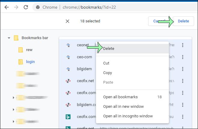 Delete All Bookmarks On Chrome