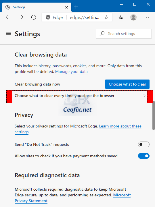 Clear browsing data section and click on Choose what to clear