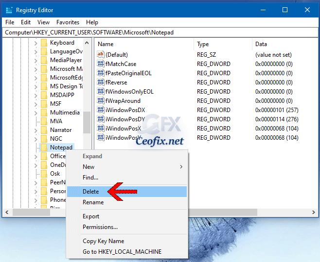 Reset Notepad to its default settings via Registry