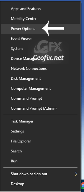 Windows key + X and select Power Options